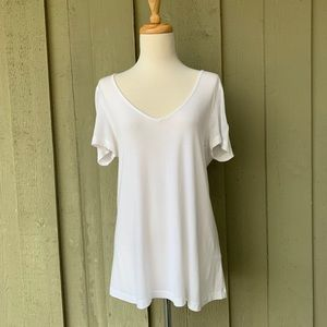 Tart Womens solid white flowy short sleeve Top~ XS